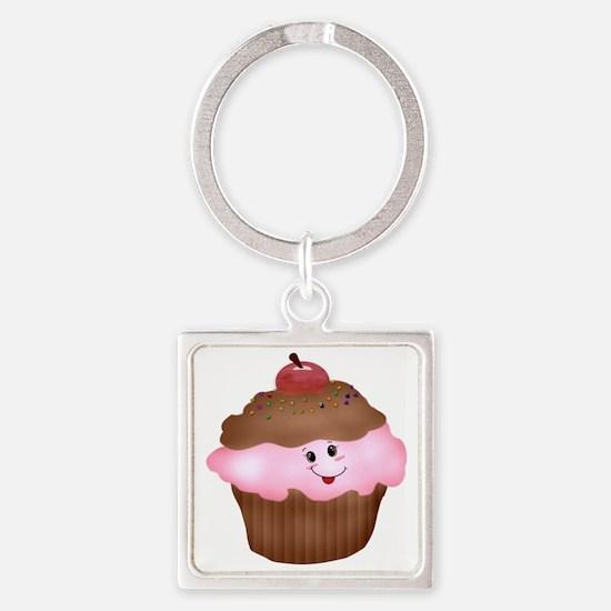 Sweet Cupcake Square Keychain