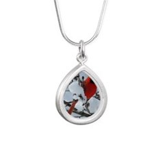 Snow Cardinal Silver Teardrop Necklace