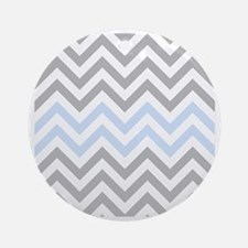 Grey and light Blue Chevrons Round Ornament