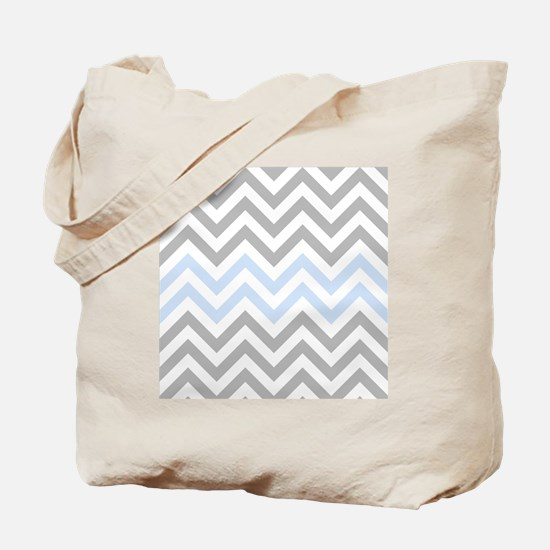 Grey and light Blue Chevrons Tote Bag