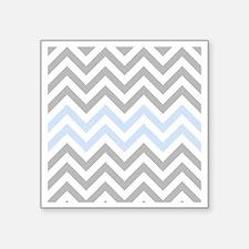 "Grey and light Blue Chevron Square Sticker 3"" x 3"""