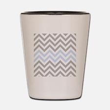 Grey and light Blue Chevrons Shot Glass