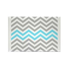 Grey and Sky Blue Chevrons Baby B Rectangle Magnet