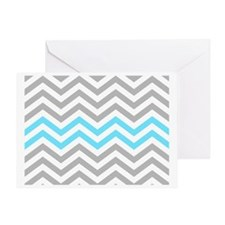 Grey and Sky Blue Chevrons Baby Blan Greeting Card