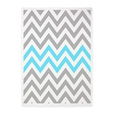 Grey and Sky Blue Chevrons 84 inch  5'x7'Area Rug