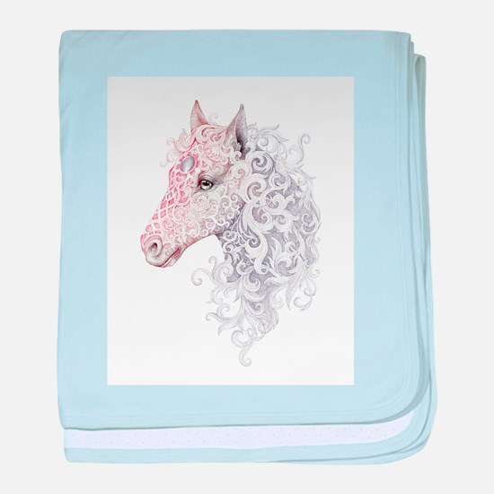 Horse Head Tattoo baby blanket