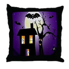 Haunted house Fun Throw Pillow