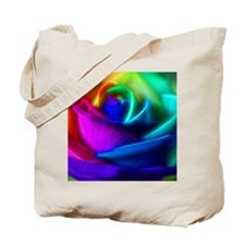 rainbow rose fractal Tote Bag