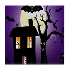 Haunted house Fun Tile Coaster
