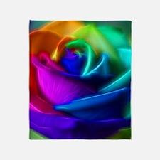 rainbow rose fractal Throw Blanket