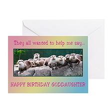 For Goddaughter, otter family birthday Greeting Ca