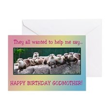 For godmother, otter family birthday Greeting Card