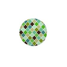 Blue Green Quatrefoil pattern Mini Button