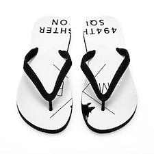 big black and white modern logo Flip Flops