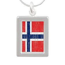 Vintage Norway Flag Silver Portrait Necklace