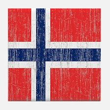 Vintage Norway Flag Tile Coaster