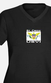 St. Croix, USVI Flag Women's Plus Size V-Neck Dark