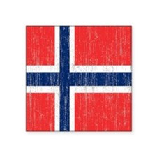 "Vintage Norway Flag Shower  Square Sticker 3"" x 3"""