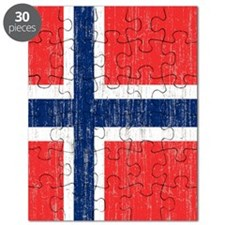 Vintage Norway Flag Shower Curtain Puzzle