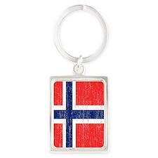 Vintage Norway Flag Shower Curta Portrait Keychain