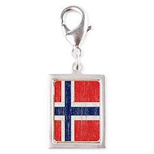 Vintage Norway Flag Shower C Silver Portrait Charm