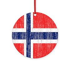 Vintage Norway FlagThrow Blanket Round Ornament