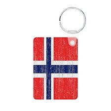 Vintage Norway Flag Twin D Aluminum Photo Keychain