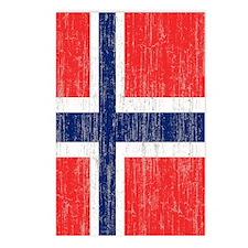 Vintage Norway Flag Twin  Postcards (Package of 8)