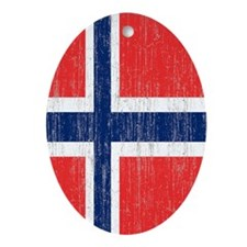 Vintage Norway Flag Twin Duvet Oval Ornament