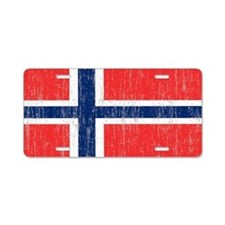 Vintage Norway Flag 5 feet  Aluminum License Plate