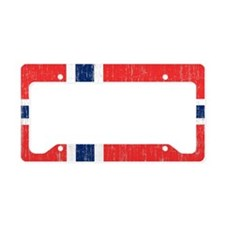 Vintage Norway Flag 5 feet by License Plate Holder