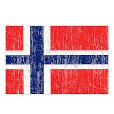 Vintage Norway Flag 5 fee Postcards (Package of 8)