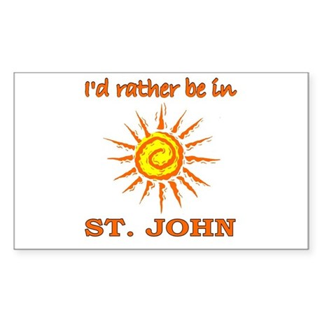 I'd Rather Be In St. John, US Sticker (Rectangular
