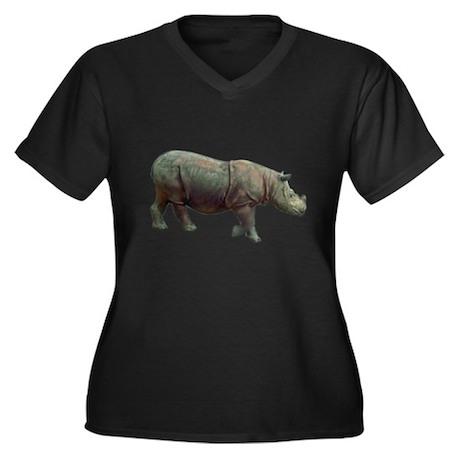 sumatran rhino Women's Plus Size V-Neck Dark T-Shi