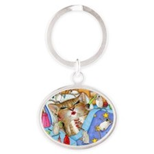 Cat 508 Oval Keychain