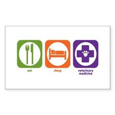 Eat Sleep Veterinary Medicine Sticker (Rectangular