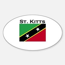 St. Kitts Flag Oval Decal