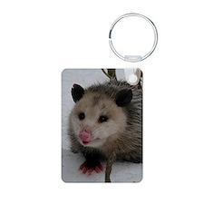 Snow Possum Aluminum Photo Keychain