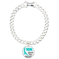 10K Aqua Finish Line Charm Bracelet, One Charm