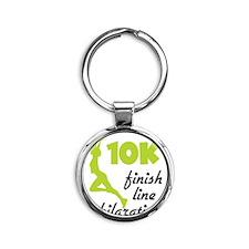 10K Green Finish Line Round Keychain