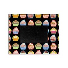 Cute Cupcakes On Black Background Picture Frame