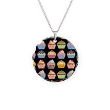 Cute Cupcakes On Black Backg Necklace