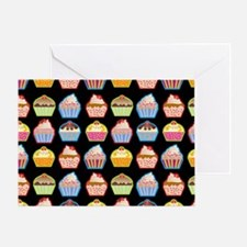 Cute Cupcakes On Black Background Greeting Card