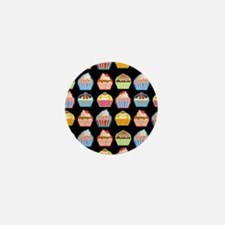 Cute Cupcakes On Black Background Mini Button