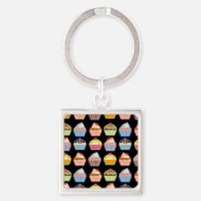 Cute Cupcakes On Black Background Square Keychain