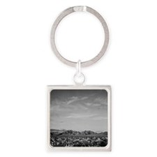 Ansel Adams Distant view of mounta Square Keychain