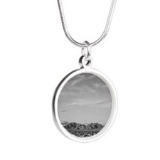 Ansel Adams Distant view of  Silver Round Necklace