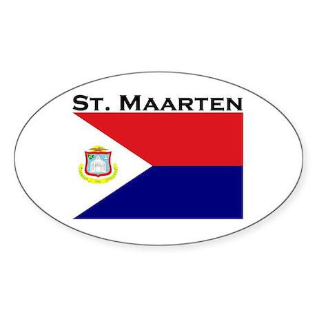 St. Maarten Flag Oval Sticker