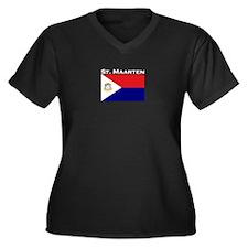 St. Maarten Women's Plus Size V-Neck Dark T-Shirt