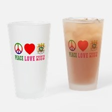 Peace Love Puerto Rico Drinking Glass